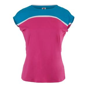 Women`s Sweetspot Cap Sleeve Tennis Top Raspberry Rose and Blue Atoll