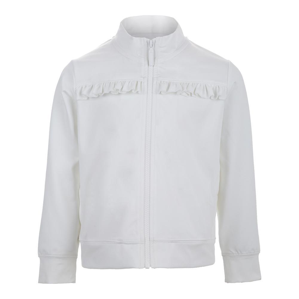 Girls ` Chest Ruffle Tennis Jacket White