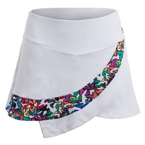 Women`s Tennis Skirt White and Freedom Print