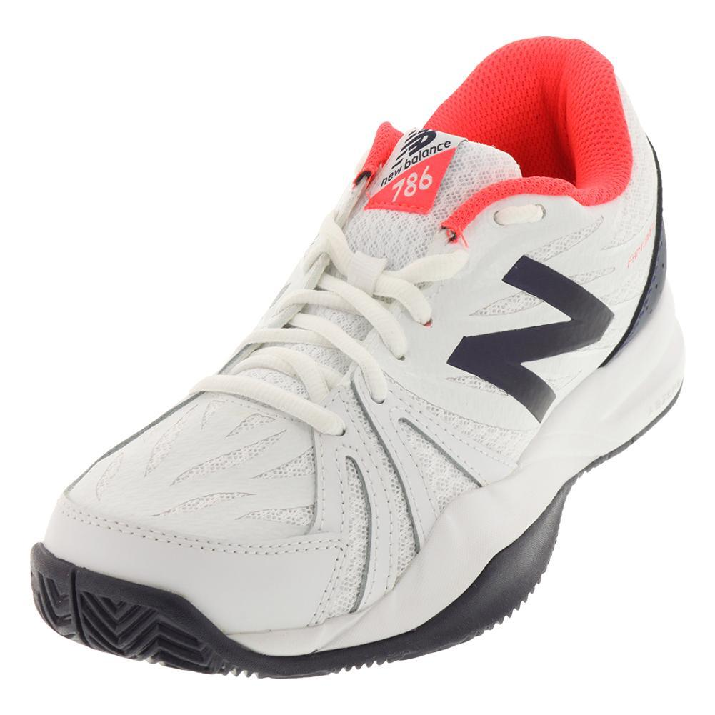 Women's 786v2 D Width Tennis Shoes Vivid Coral And White
