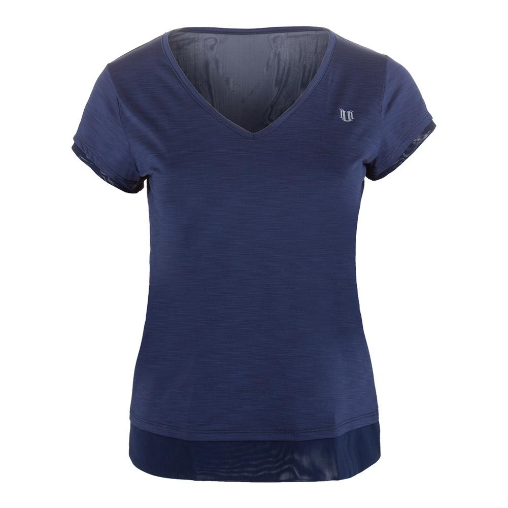 Women's Lateral Short Sleeve Tennis Top Blue Nights