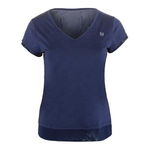 Women`s Lateral Short Sleeve Tennis Top Blue Nights