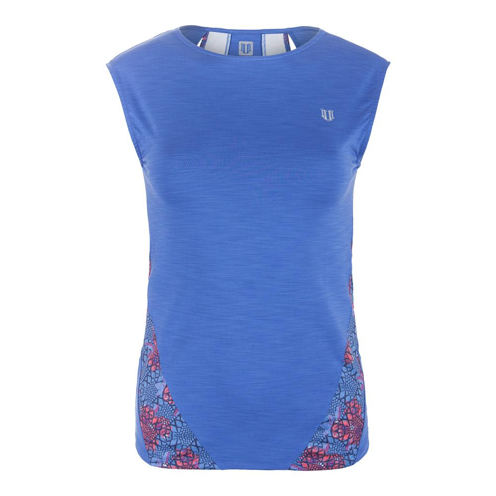Women's Backup Cap Sleeve Tennis Top Baja Blue