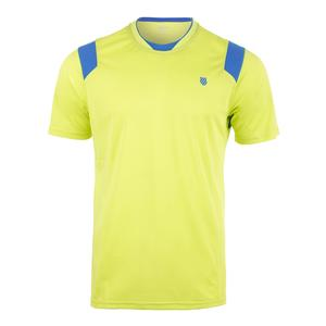 Men`s Performance Tennis Crew Neon Citron and Strong Blue