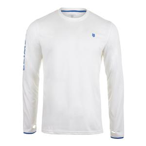 Men`s Long Sleeve Tennis Crew Cloud Dancer and Strong Blue