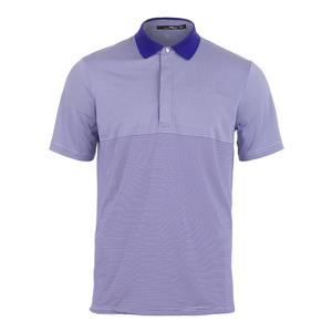 Men`s Lightweight Stripe Airflow Tennis Top Pure White and City Royal