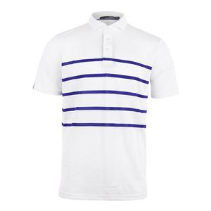 Men`s Lightweight Tech Pique Tennis Top Pure White and City Royal