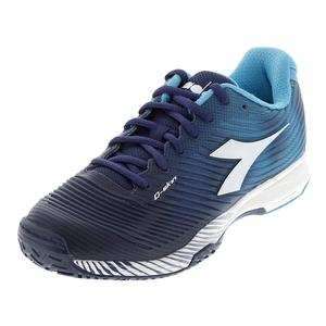 Men`s S Competition 4 Ag Tennis Shoes Fluo Blue and White