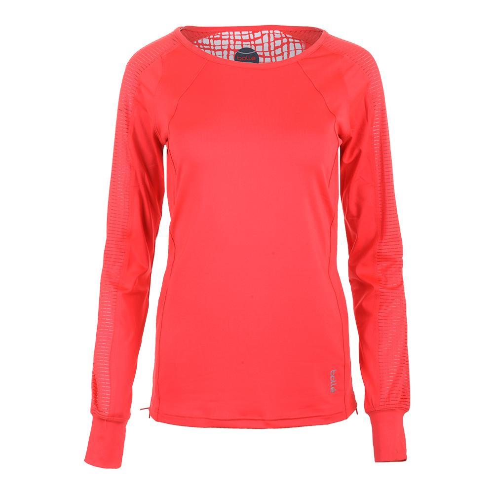 Women's Positano Long Sleeve Tennis Top Coral