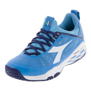 Men`s Speed Blushield Fly Ag Tennis Shoes Blue Fluo and White