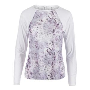 Women`s Sheer Body Tennis Top Rhapsody Print