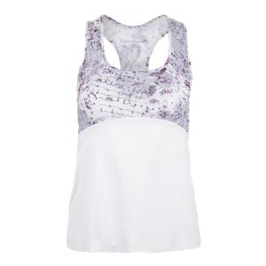 Women`s Racerback Tennis Top Rhapsody Print and White