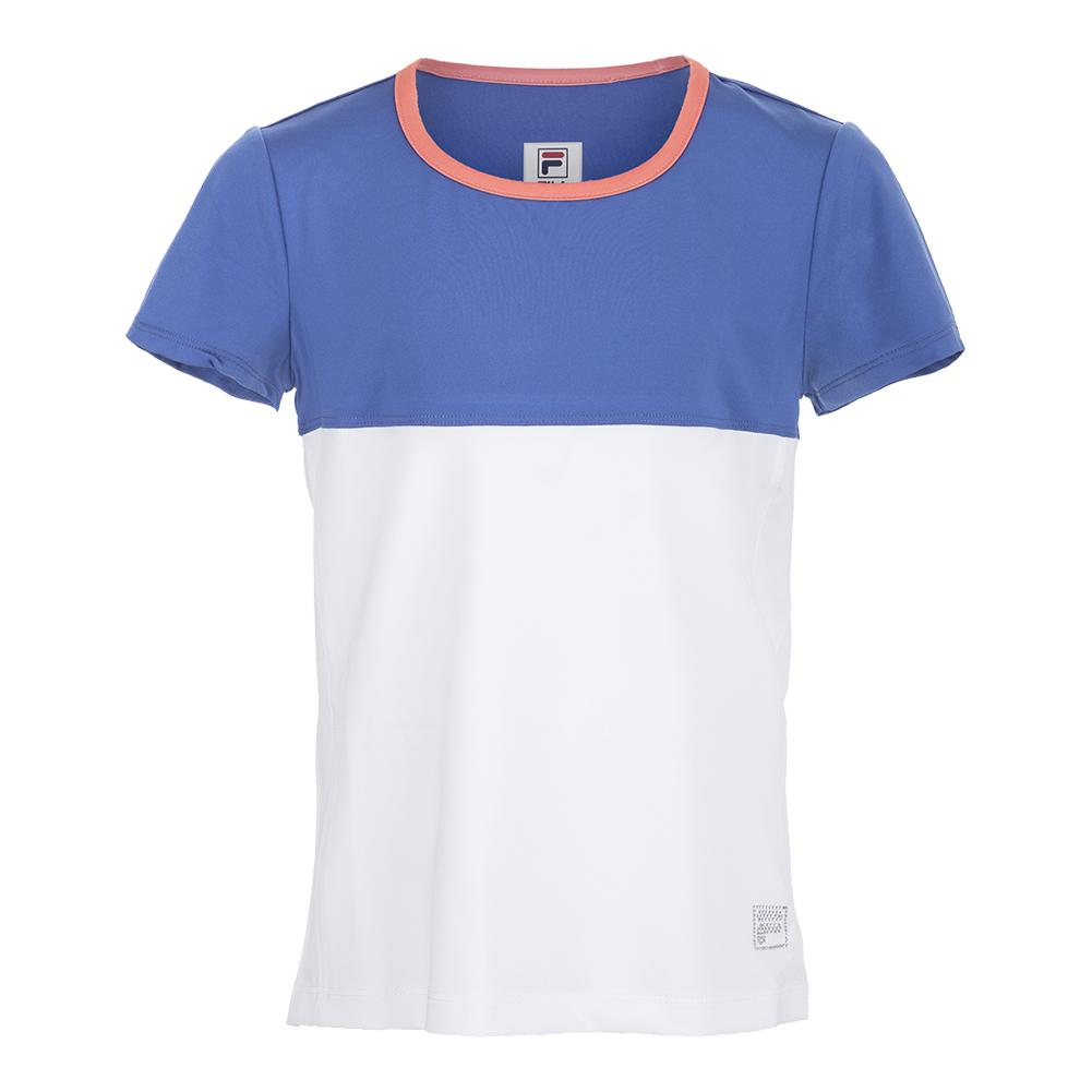 Girls ` Chevron Cap Sleeve Tennis Top White And Amparo Blue