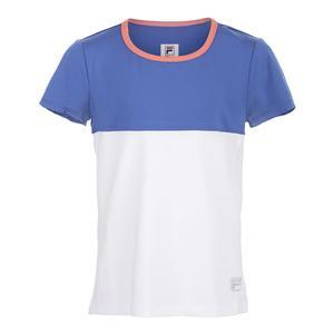 Girls` Chevron Cap Sleeve Tennis Top White and Amparo Blue