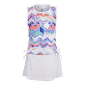 Girls` Chevron Tie Tennis Dress Print and White