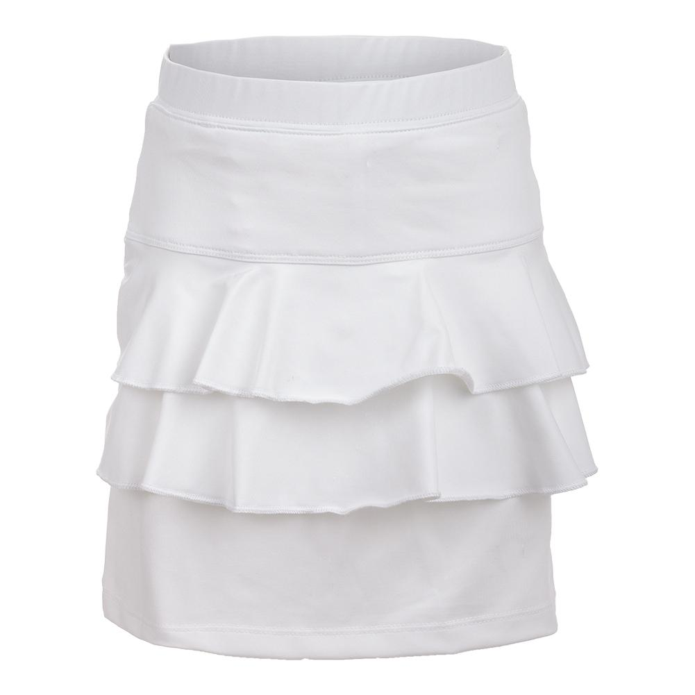 Girls ` Double Ruffle Tennis Skort White