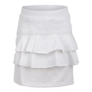 Girls` Double Ruffle Tennis Skort White