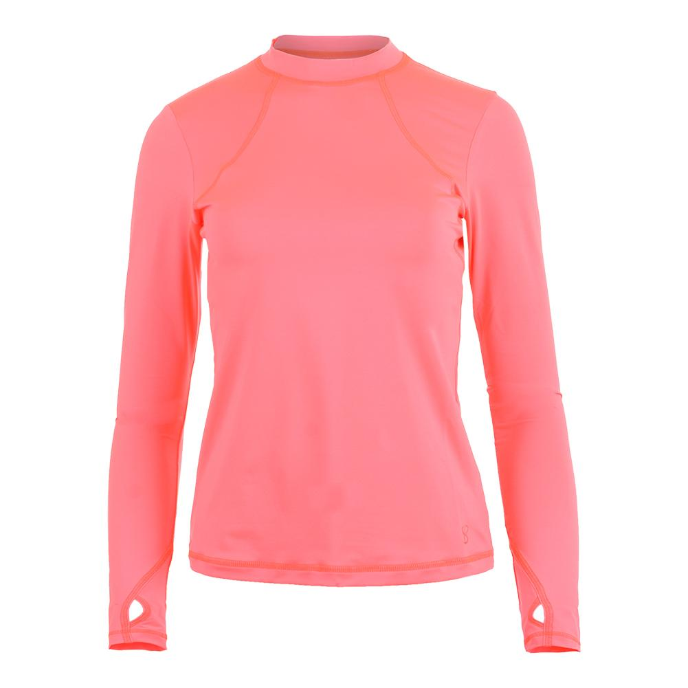 Women's Mock Long Sleeve Tennis Top Poppy