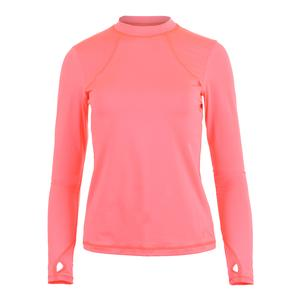Women`s Mock Long Sleeve Tennis Top Poppy