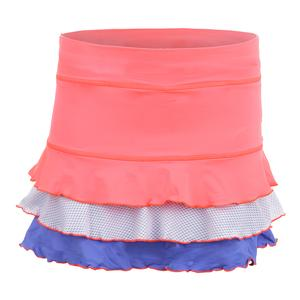 Women`s Triple Ruffle 13 Inch Tennis Skort Poppy and White
