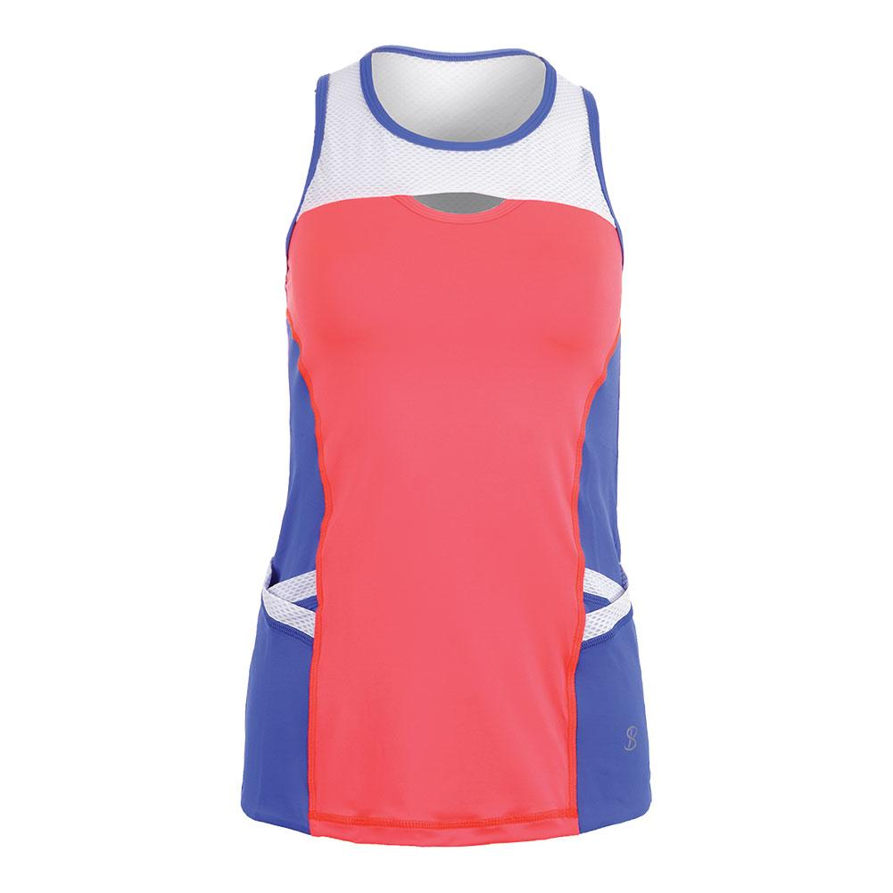 Women's Keyhole Tennis Tank Poppy