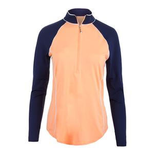 Women`s Piped Long Sleeve Mock Tennis Top Papaya