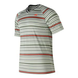 Men`s Tournament V Neck Tennis Top Silver Mint and Flame