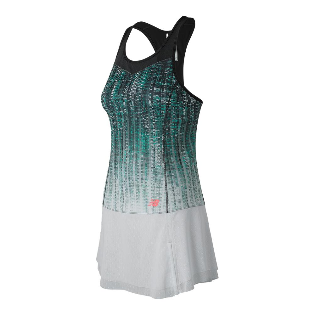 Women's Printed Tournament Tennis Dress Black And White