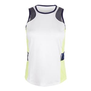 Women`s Adair Tennis Tank White and Citrine