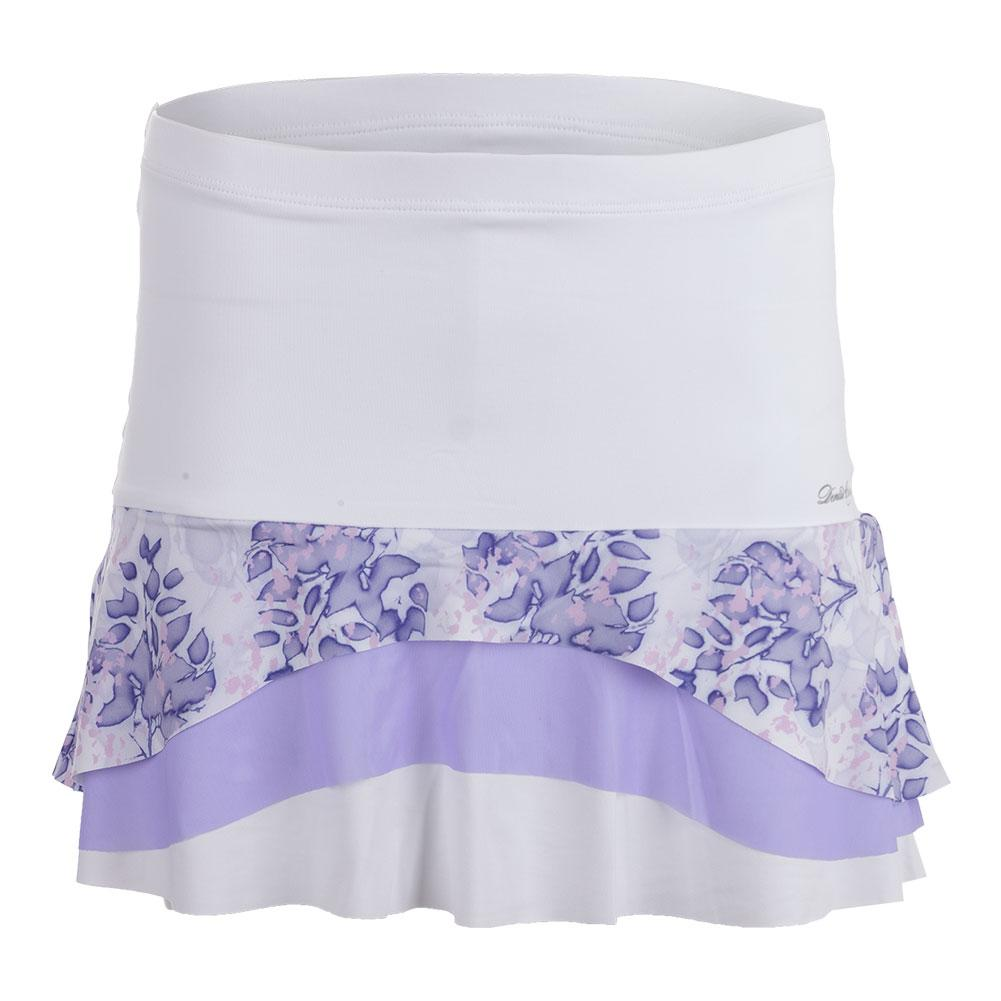 Women's Tier Tennis Skort White And Serenity Print