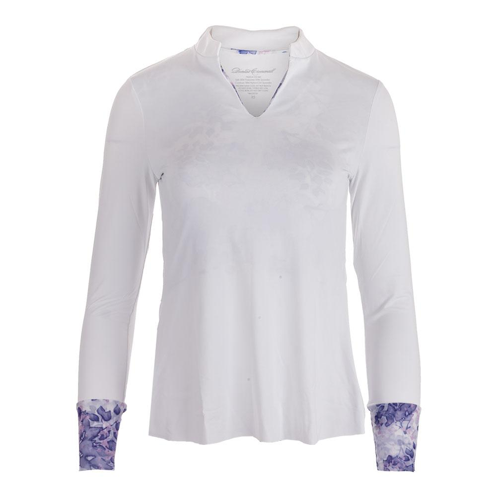 Women's Long Sleeve Collar Tennis Top White