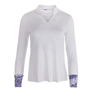 Women`s Long Sleeve Collar Tennis Top White