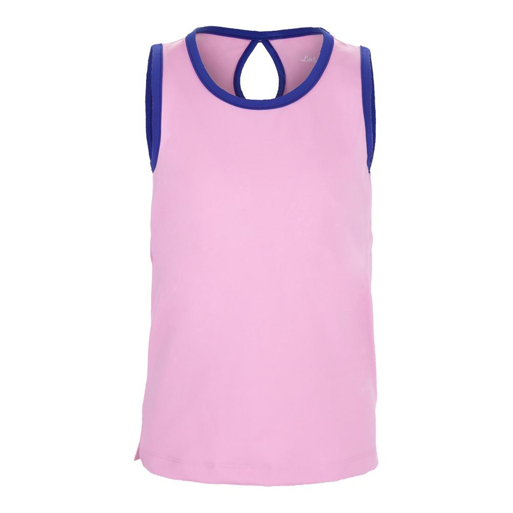 Girls ` Keyhole Back Tennis Tank Pink With Navy Trim