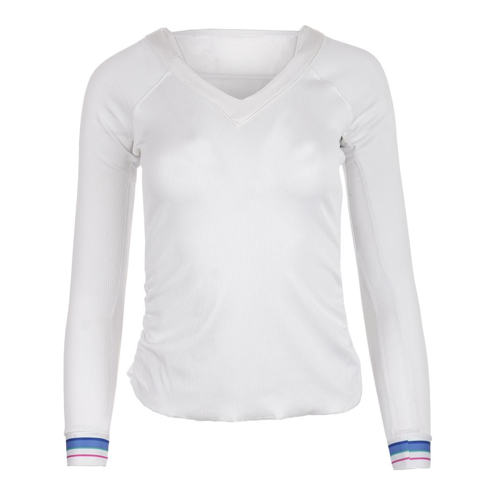 Women's Stripe V- Neck Rib Long Sleeve Tennis Top White
