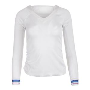 Women`s Stripe V-Neck Rib Long Sleeve Tennis Top White