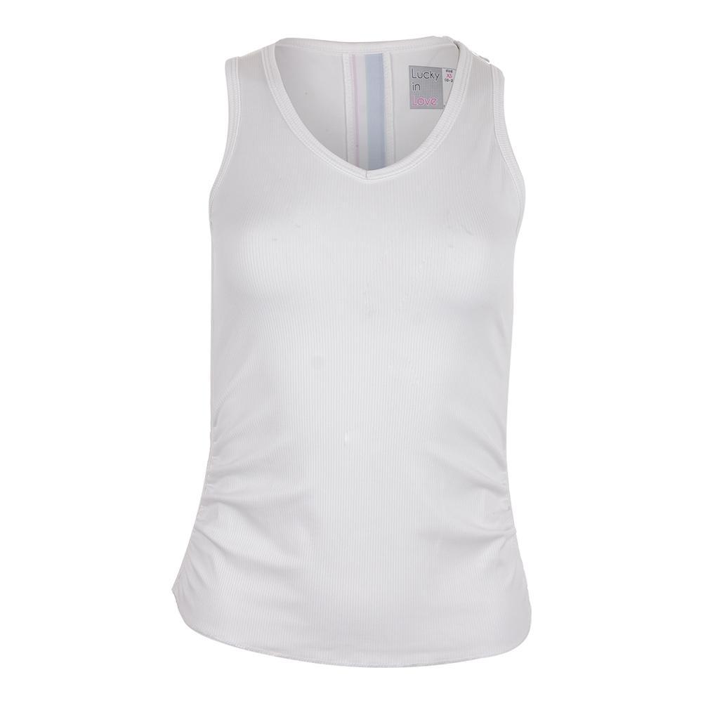 Women's Floral Stripe Rib V Tank White