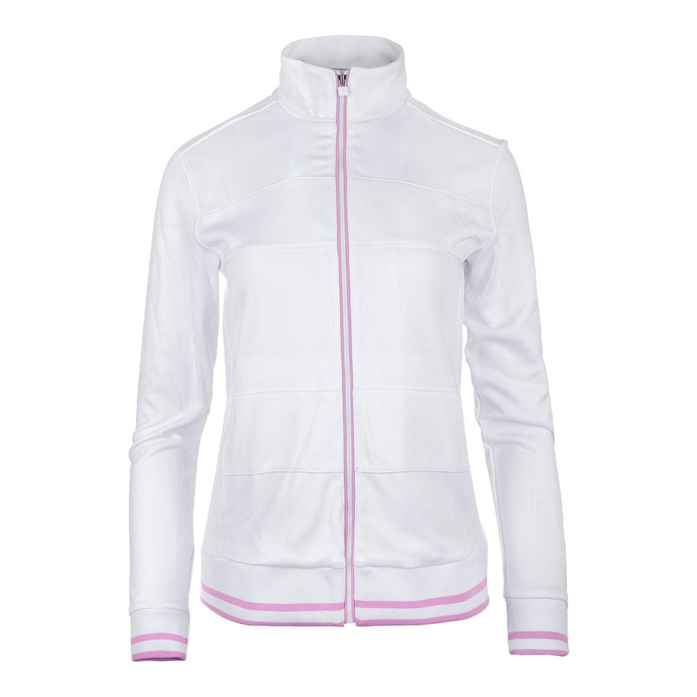 Women's Elite Tennis Jacket White And Lilac Chiffon