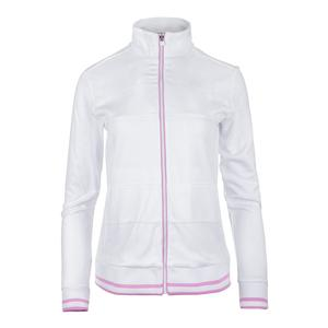Women`s Elite Tennis Jacket White and Lilac Chiffon