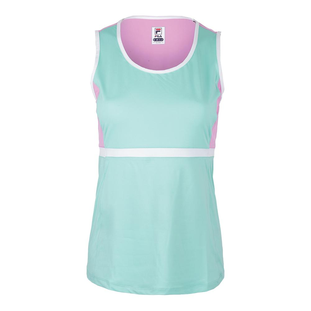 Women's Elite Full Coverage Tennis Tank Ice Green And Lilac Chiffon