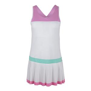 Women`s Elite Pleated Tennis Dress White and Lilac Chiffon