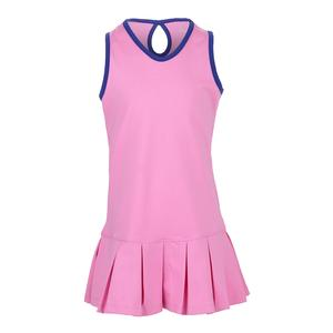 Girls` Keyhole Back Pleated Tennis Dress Pink with Navy Trim