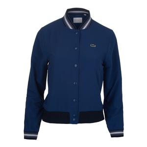 Women`s Taffeta Tennis Bomber Jacket Marino and Navy Blue