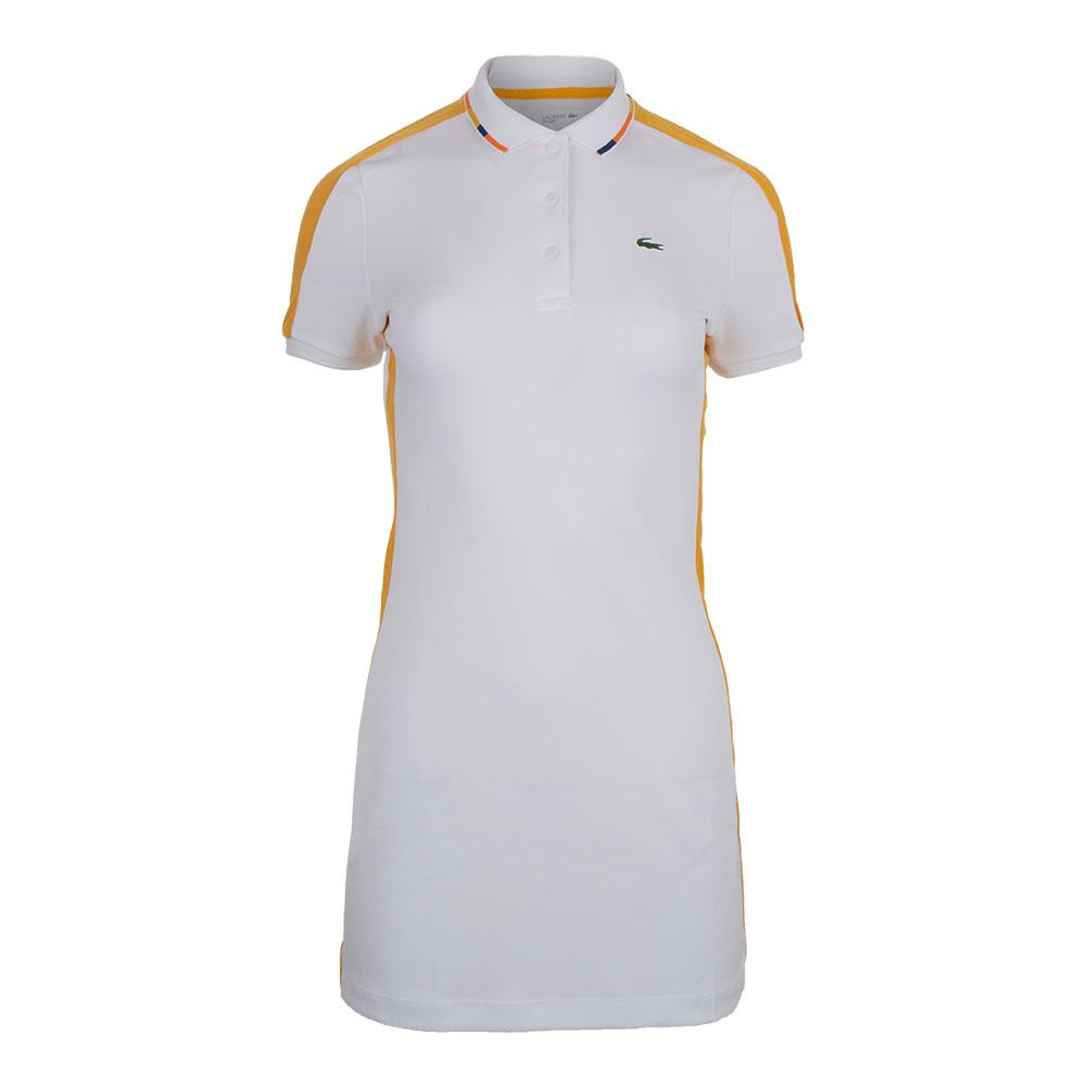 faf6735a48e Lacoste Women`s Mini Pique Ultra Dry Tennis Polo Dress in White