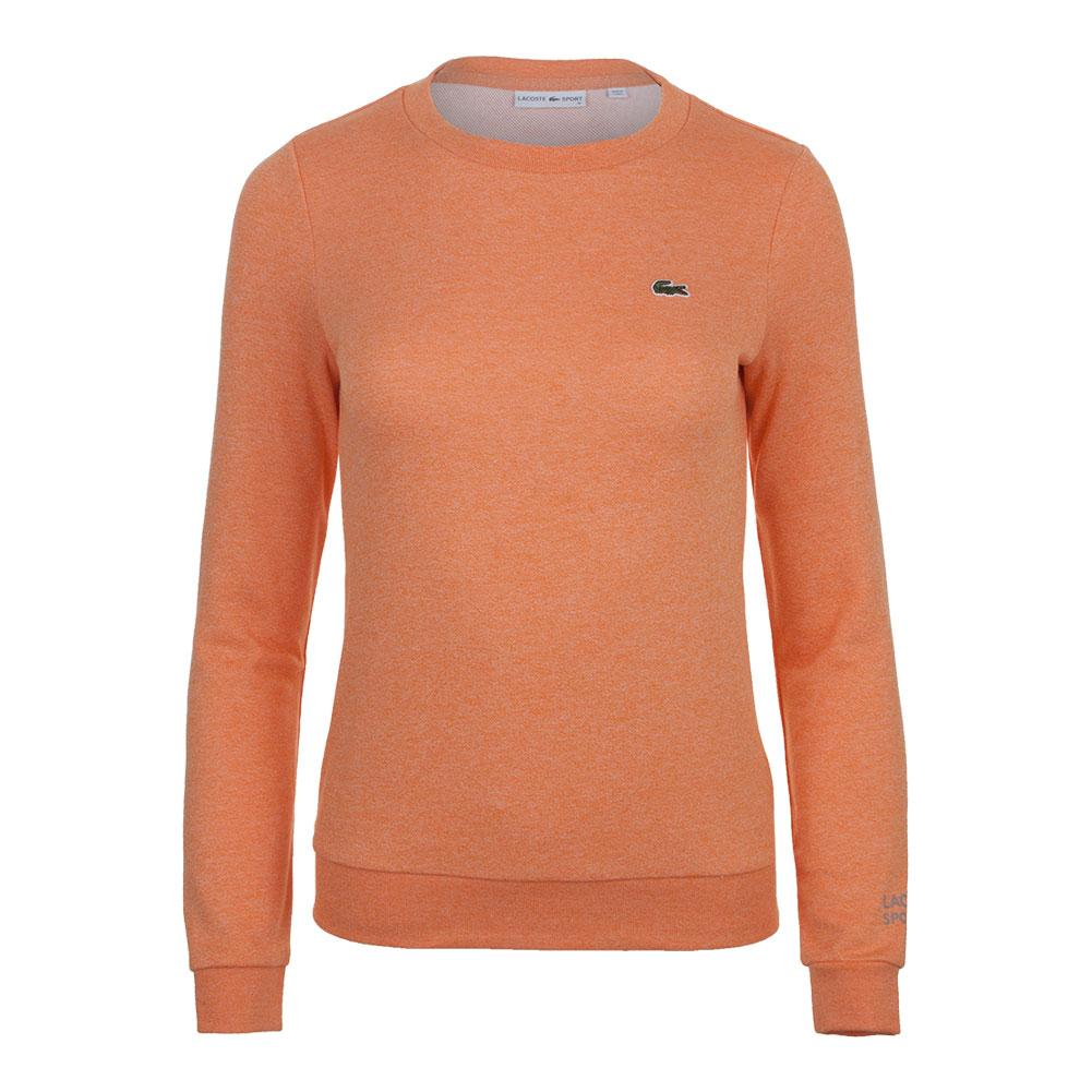 Women's Long Sleeve Fleece Tennis Sweatshirt Orange Jaspe