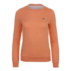 Women`s Long Sleeve Fleece Tennis Sweatshirt Orange Jaspe