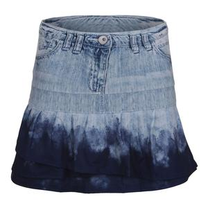 Women`s Long Tennis Skort Dip-Dye Denim