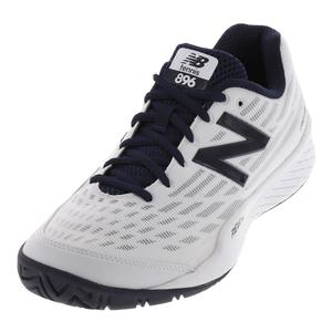 Men`s 896v2 D Width Tennis Shoes White and Black