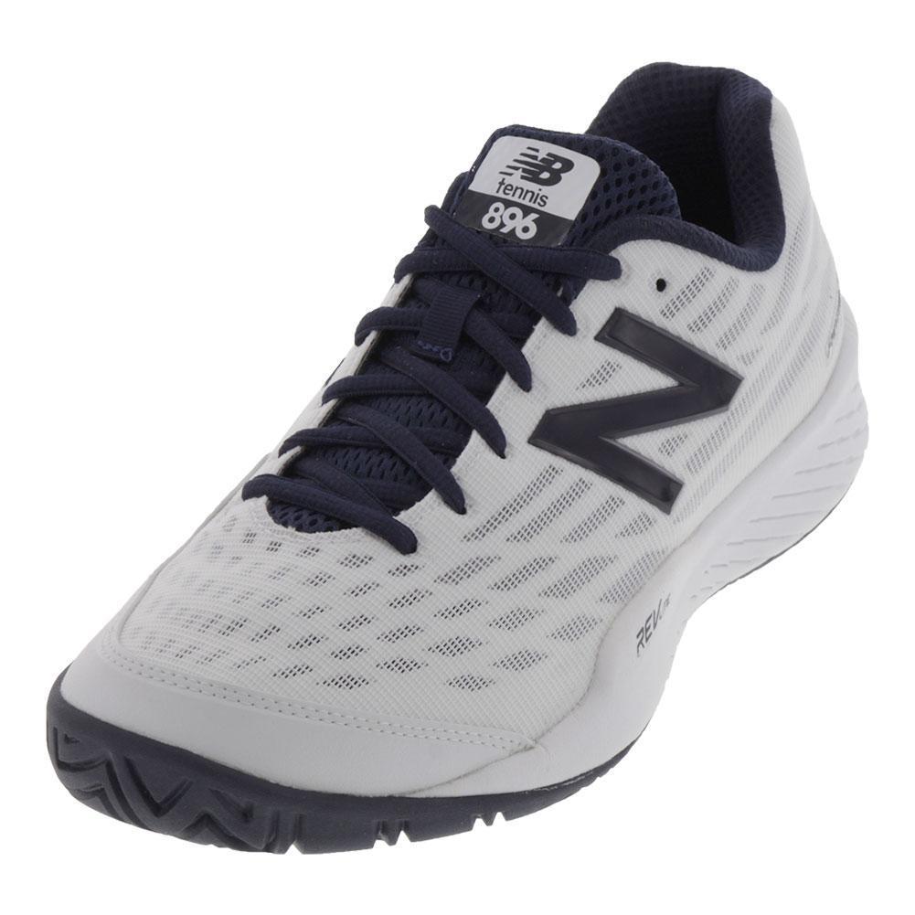 Men's 896v2 2e Width Tennis Shoes White And Black