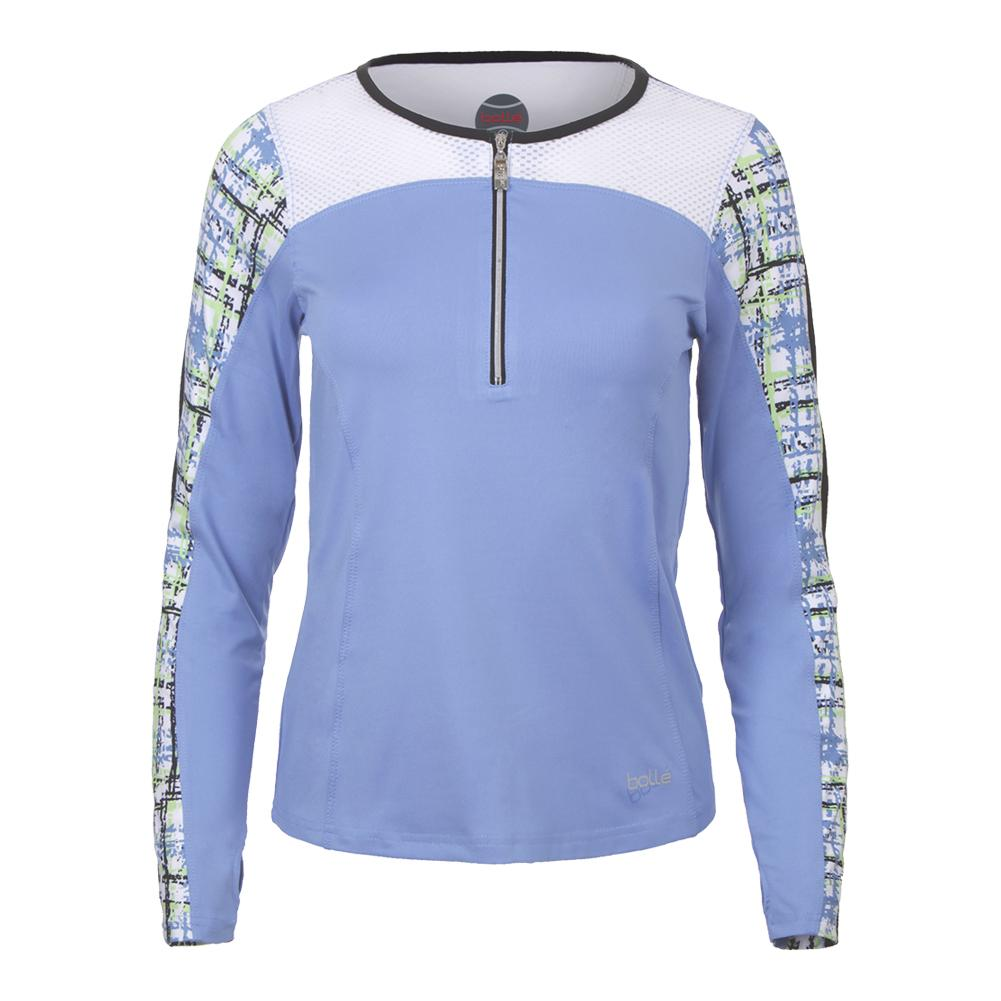 Women's Amalfi Long Sleeve Tennis Top Periwinkle And White