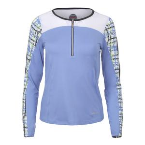 Women`s Amalfi Long Sleeve Tennis Top Periwinkle and White